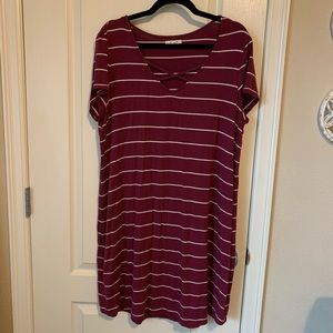 Maroon Striped Dress